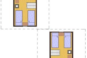 Hóbort üdülő: Apartman faházak emeleti rajza